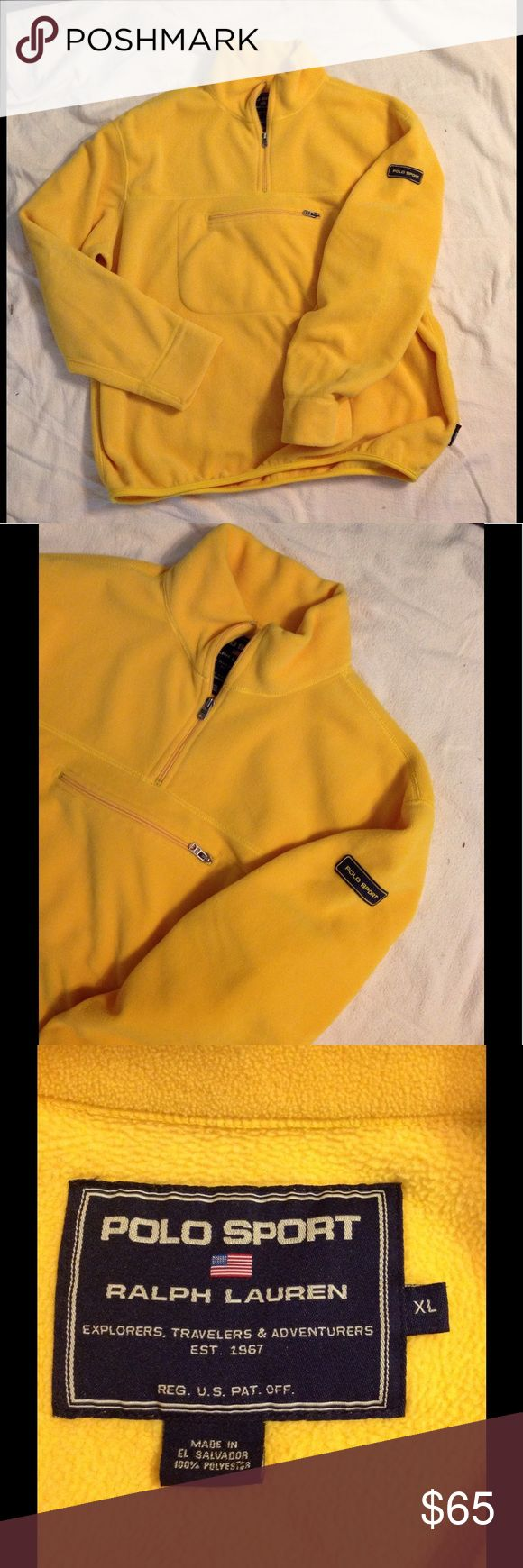 Ralph Lauren Polo Sport Fleece Pullover XL Very nice RL Polo Sport fleece pullover. Color is a yellow/gold. Size XL. Great condition Polo by Ralph Lauren Jackets & Coats