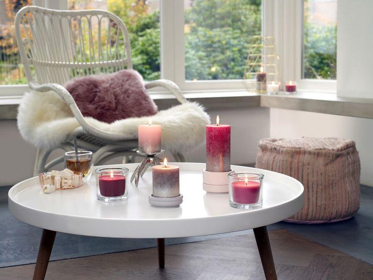 Deze collectie geeft het interieur een chique uitraling. De rustieke kaarsen zijn uitgevoerd in zachte, harmonieuze tinten en voorzien van een champagne-kleurige metallic lak die subtiel vervaagt.