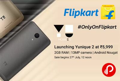 """Flipkart is launching Yu Yunique 2 Mobile Just at Rs.5999 only. 2GB RAM, 16GB ROM, 13MP Rear 