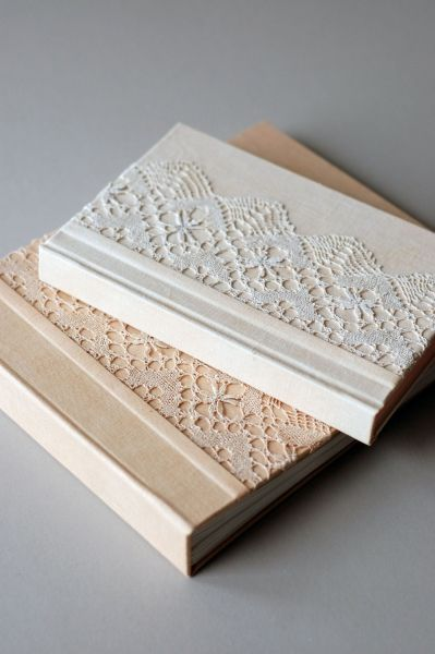 lace covered hardcover books / 2013-14 : handmade by Natalie Stopka