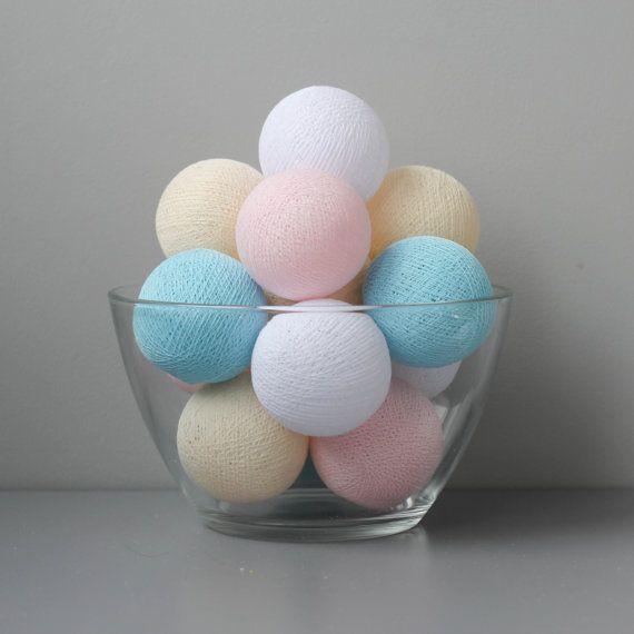 White beige light blue and light pink cotton balls от vamvigvam