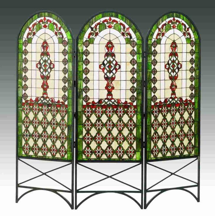 "Meyda 48809 60""W X 58""H Quatrefoil Classical Stained Glass Room Divider #MeydaLighting #StainedGlass"