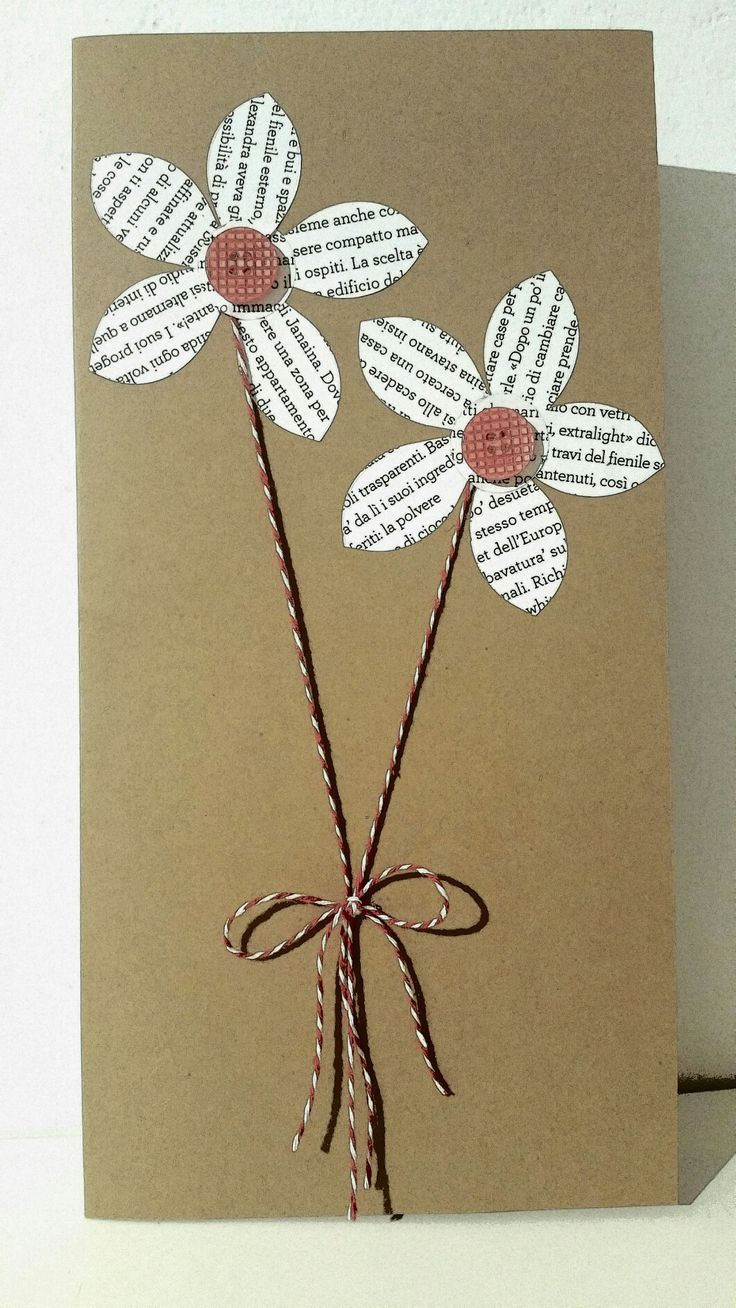 Card with paper flowers. Handmade