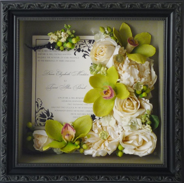 A beautiful way to display your preserved blooms! Include your invitation and boutonniere!    www.freezeframeit.com