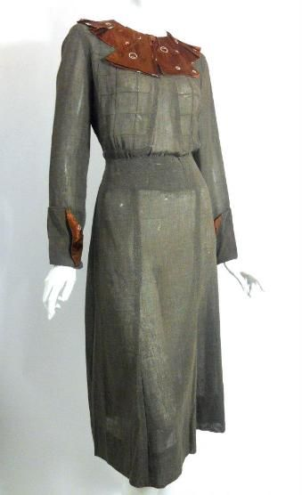 1930s graphite grey dress with brown satin deco print collar and cuffs.  Via Dorothea's Closet Vintage.