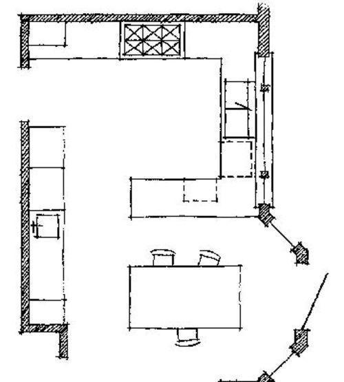 Wichtige Küchen Grundrisse - P-förmiges Projekt