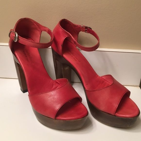Charles David red leather shoes Gorgeous Charles David soft red leather shoes with wood heel.  The shoes have a platform for comfort and rubber sole on the bottom.  Very rarely worn in excellent condition. Charles David Shoes Sandals