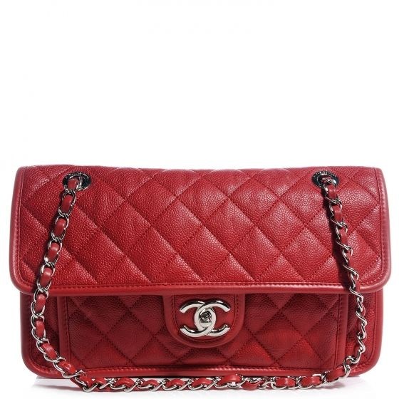 CHANEL Jumbo Caviar French Riviera Flap in Red $3400