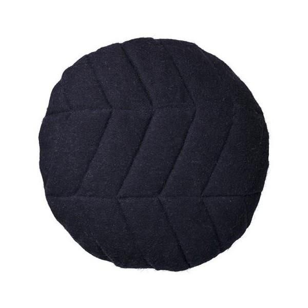 BLOOMINGVILLE - NAVY WOOL QUILTED ROUND CUSHION