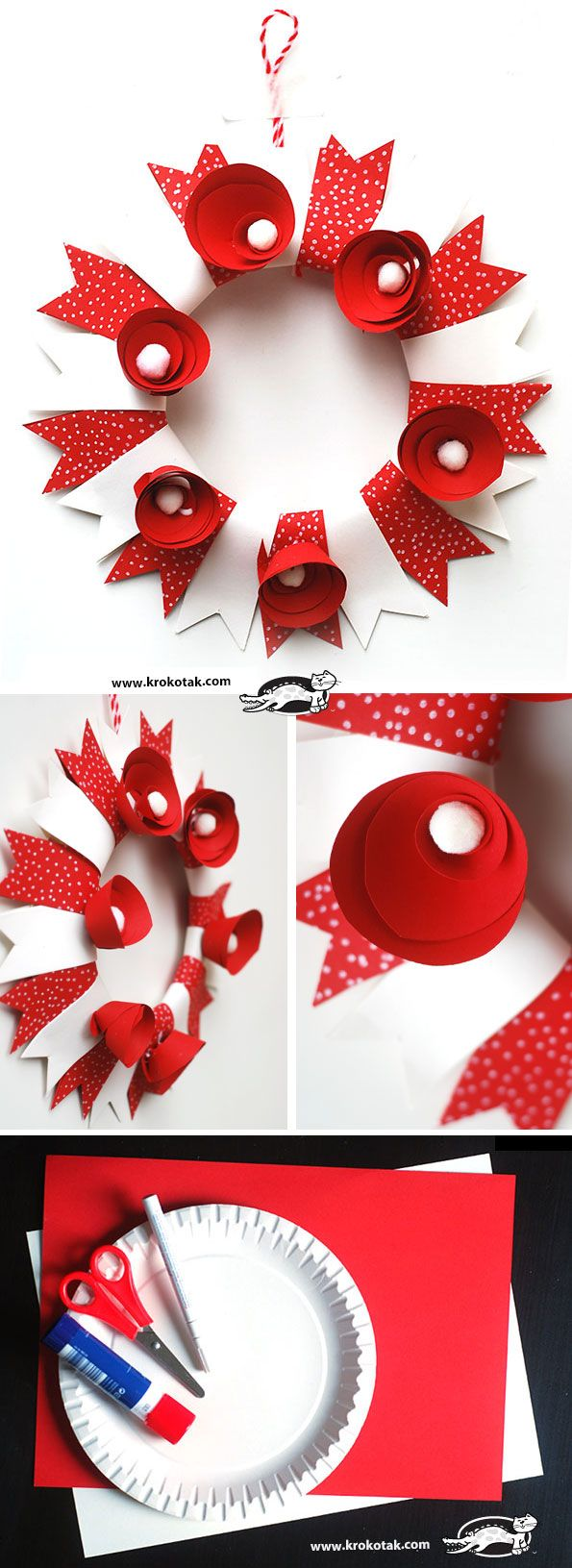 WREATH- white and red
