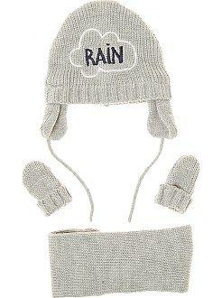 Complementos - Conjunto de punto tricotado con gorro + braga + manoplas - Kiabi