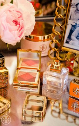 The Tory Burch Beauty collection on Tory's vanity