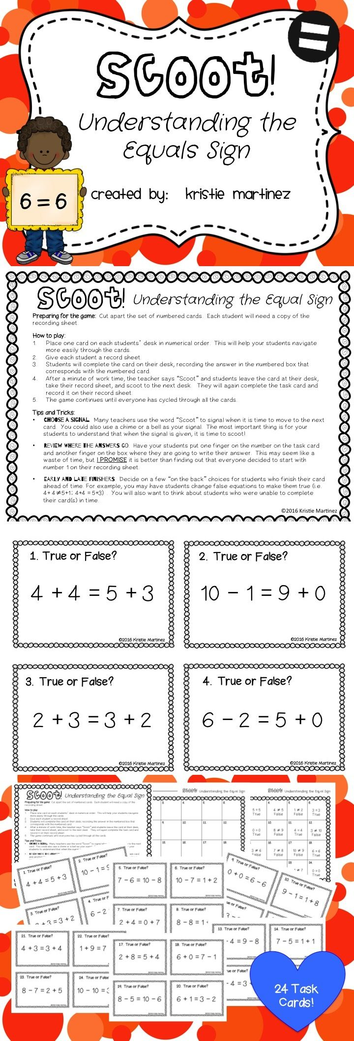 Scoot! Understanding the Equals Sign is a game that will get your entire class up and moving around while reviewing important Common Core Operations and Algebraic Thinking Standards. Scoot! Understanding the Equals Sign will have your students adding and subtracting within 10 to determine if equations are true or false.