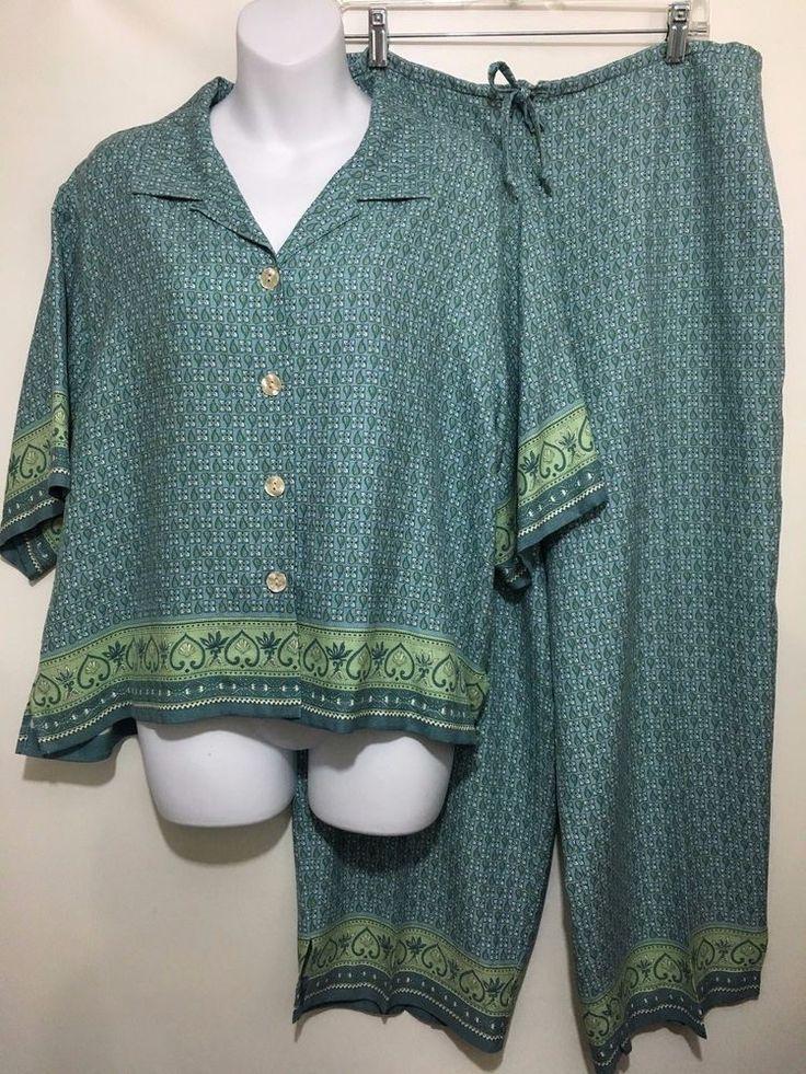 Tommy Bahama Womens Top XL Drawstring Pants 16 Silk Outfit Blue Green Print  #TommyBahama