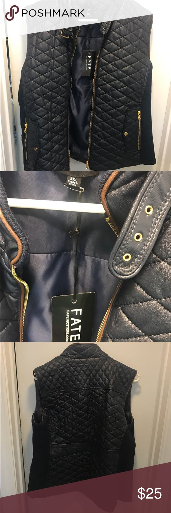 FATE Rowan Faux Leather Jacket 2X Size 2X navy leather jacket. FateIncStore.com - quilted design NWT **will take best offer Fate Inc Jackets & Coats Vests