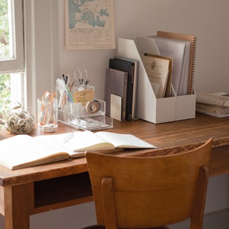 Working space. MUJI stationary container (on the table)