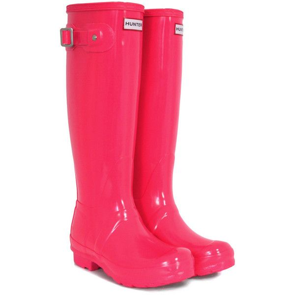 Festival Fluoro Tall Neon Pink Hunter Wellies ($135) found on Polyvore