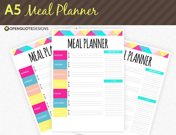 An A5 printable meal planner for your Filofax/A5 binder! INCLUDED* - 1 PDF (A5 size) meal planner USE Personal use only. *Please note