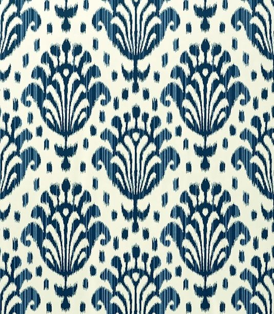Thai Ikat Wallpaper Cream wallpaper with Navy blue Ikat print. £46.00 per roll