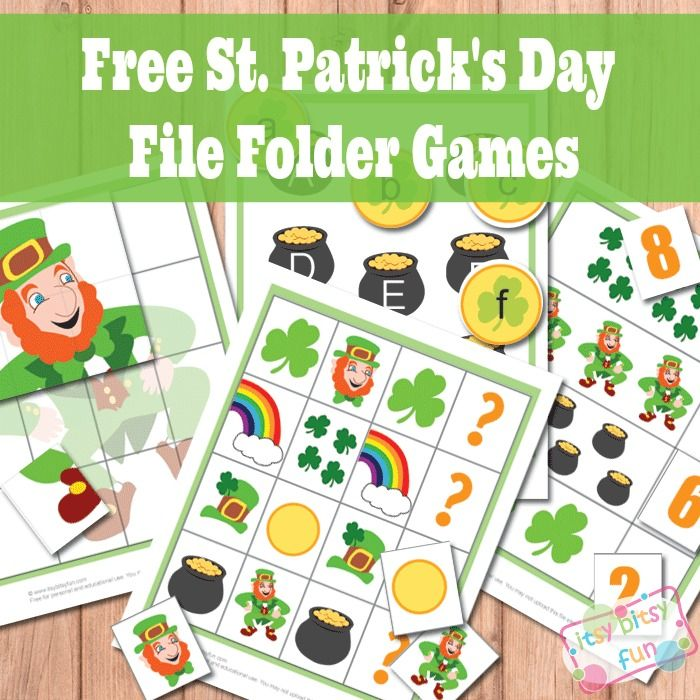 Itsy Bitsy Fun is offering a free set of St. Patrick's Day file folder games for your little ones. They have lots of leprechauns, rainbows, shamrocks, pots