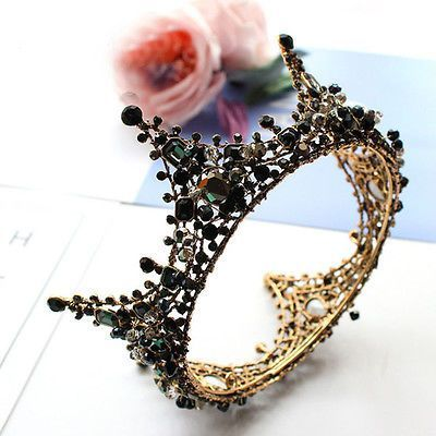 (Ad)eBay – Luxury Black Crystal Queen Gold Crown Wedding Bridal Party Pageant Prom 5″ Wide