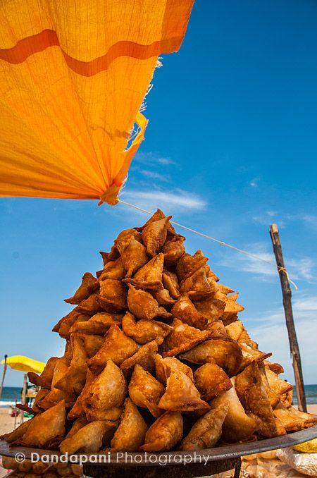 A heap of samosas for sale at Marina. Chennai.