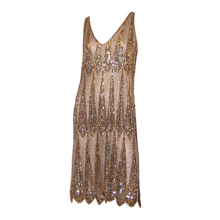1920's Gold & Silver Sequined & Beaded Dress