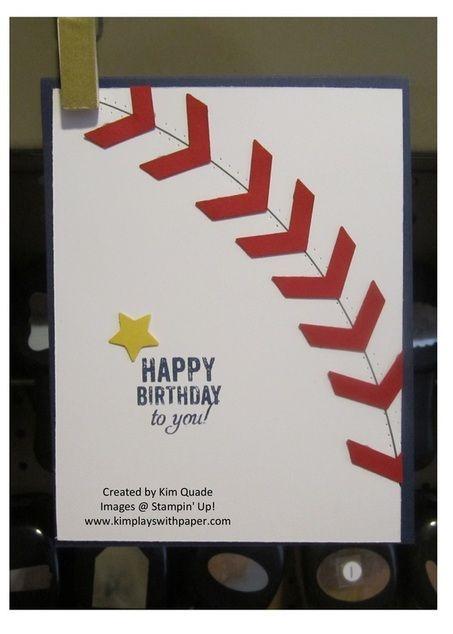 Stampin Up baseball birthday card using the Chevron punch