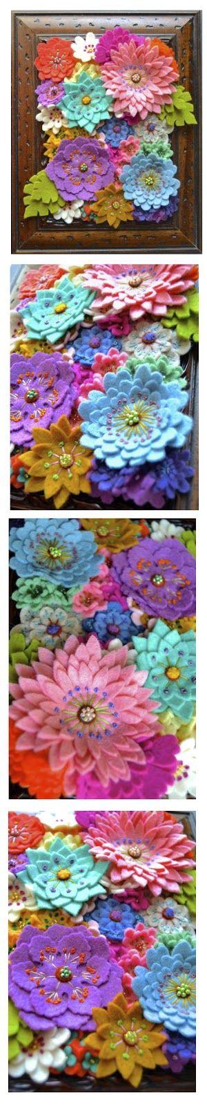 Cuadro de flores de fieltro. Flower painting with felt.  フェルトの花の絵画