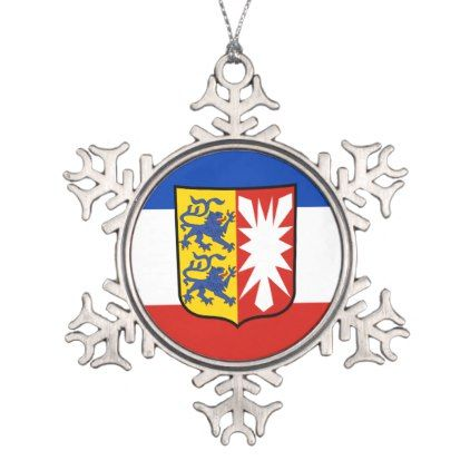Flag Schleswig-Holstein Snowflake Pewter Christmas Ornament - personalize cyo diy design unique