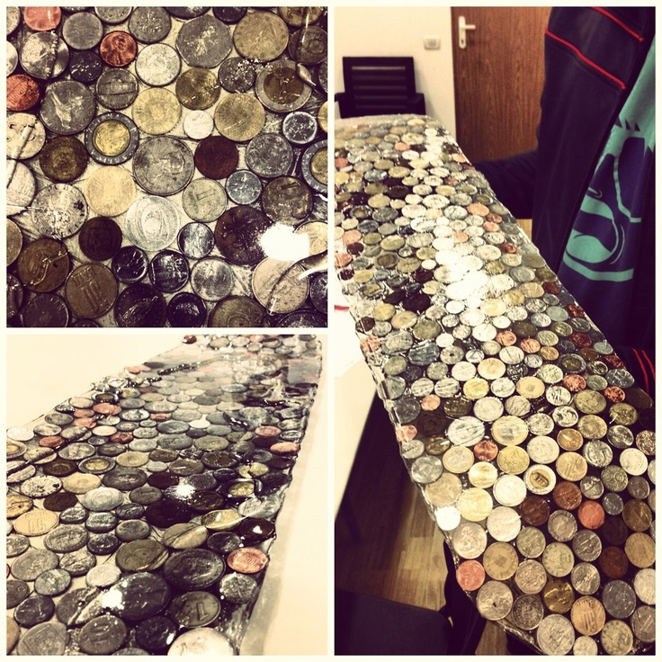 skateboard made of coins