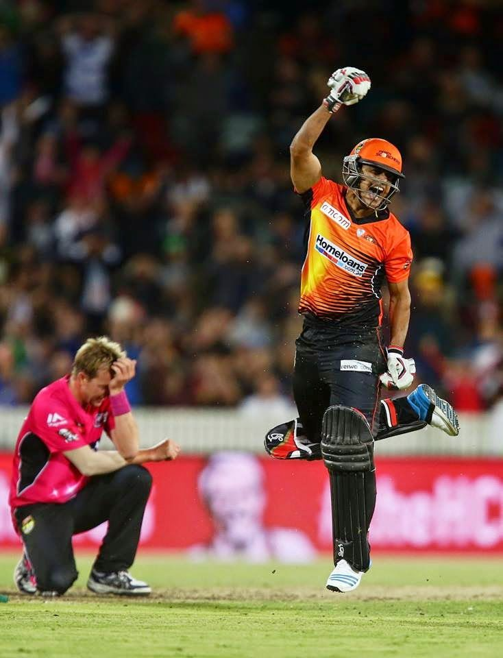 What a great game, the momentum changes, twists & turns and the pressure. The final for BBL04 was an absolute cracker, I was jumping around all excited - the game came down to the last over, what looked unlosable for the Perth Scorchers was now looking decidedly shaky.