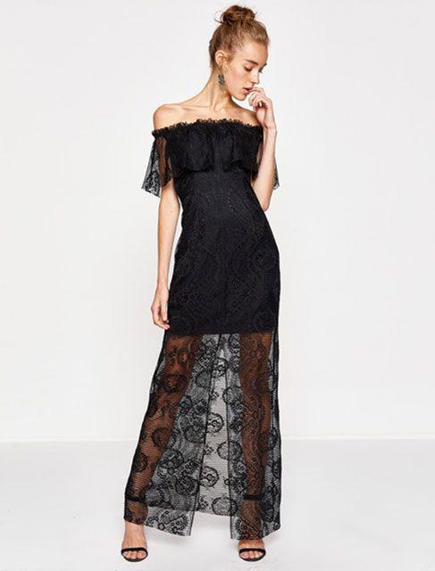 2018 Gece Elbiseleri Siyah Uzun Straplez Gupur Dantelli Koton 150 Tl Elbise Modelleri The Dress Elbise