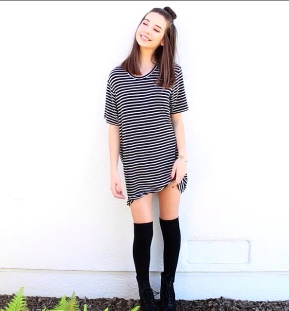 Brandy Melville T-shirt dress + knee high socks