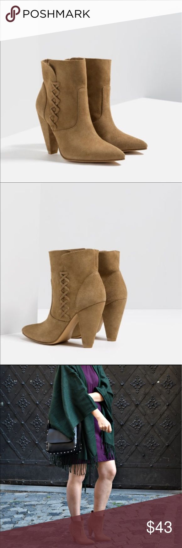 NEW ZARA SUEDE LEATHER ANKLE BOOTS HIGH HEEL 7.5 NEW ZARA Women's SUEDE LEATHER ANKLE BOOTS CONE HIGH HEEL SLIP ON POINTED sz 7.5 38 US SIZE 7.5 