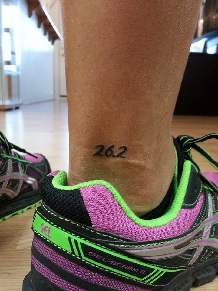 Marathon runner tattoo. Done by John Baize Wenona Ink Illinois