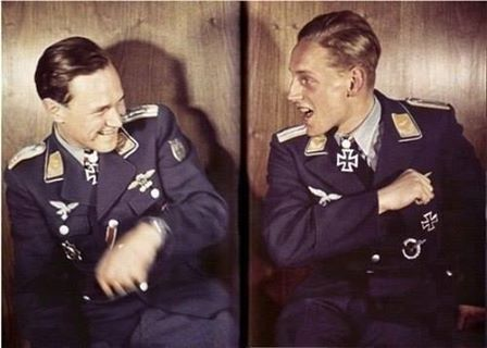 Walter Krupinski and Erich Hartmann having fun.