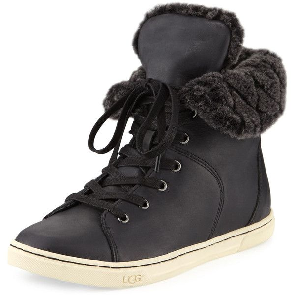 Ordered these and I am in love with them!! 😍  Ugg Croft Luxe Quilt Sneaker ($180) ❤ liked on Polyvore featuring shoes, sneakers, black, flat shoes, black leather flats, black flats, ugg sneakers and leather shoes