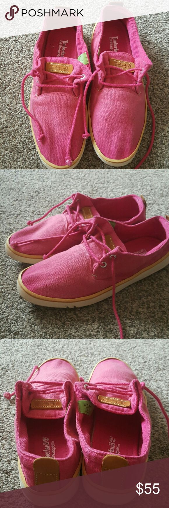 Timberland earthkeepers Pink canvas timberlands earthkeepers great condition no defects Timberland Shoes Flats & Loafers