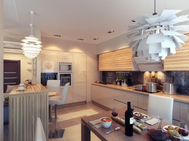 Desain Interior Dapur Dengan Lampu Gantung Artistik