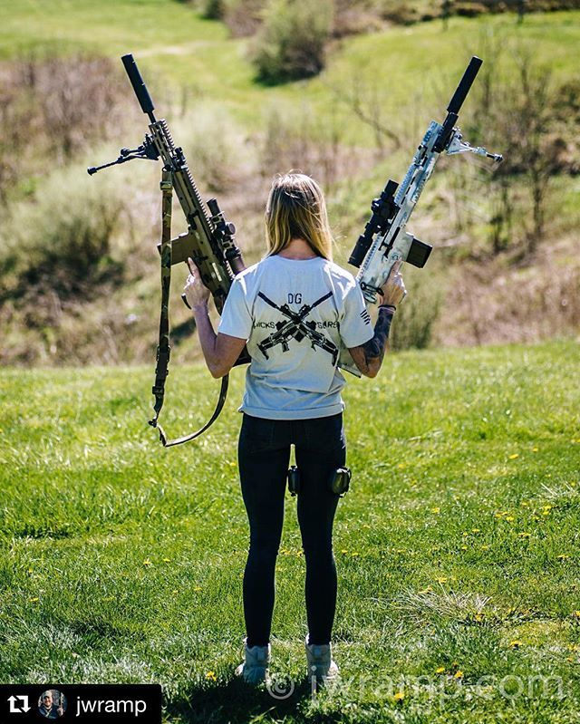 What's better than a Scar 17? Two Scar 17s Suppressed  Rocking a @seastate21 #applyviolence shirt, and two #scar17s with 1-6 and 1-8 optics from @vortexoptics and @usopticsinc  #scarheavy #rangeday #clairton #308win #aac #advancedarmament #762sdn6 #silencer #fightthenoise #nfa #kdg #girlswhoshoot #girlsandguns #nfafanatics #igmilitia #dailybadass #gunsdaily #veteran #chicksdigscars #tattoos  Thanks to @jwramp for the badass picture!