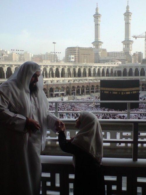 Father and Daughter at Masjid al-Haram in Makkah