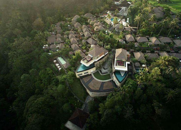 【巴厘岛🇮🇩最美豪华住宿❤️️】就在UBUD山坡上,俯瞰着Petanu河,无边泳池上吃早餐🥙🍞🥐还可以在绿油油的稻田骑自行车🚲~😍  【Kamandalu Ubud】 📍地址:Jalan Andong, Banjar Nagi, 乌布