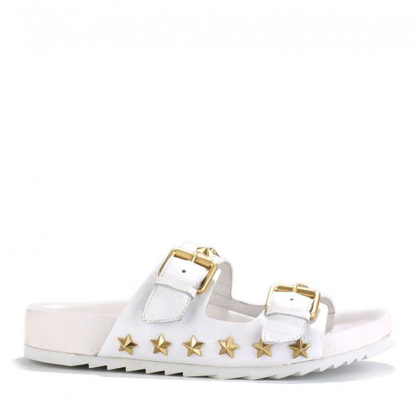 ASH UNITED Buckled Sandals White Gloss Croc Leather & Star Studs    http://www.ashfootwear.co.uk/womens-c1/ash-united-buckled-sandals-white-gloss-croc-leather-star-studs-p1495