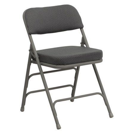 Flash Furniture Hercules Series Premium Curved Triple Braced and Double Hinged Fabric Upholstered Metal Folding Chair, Multiple Colors, Gray