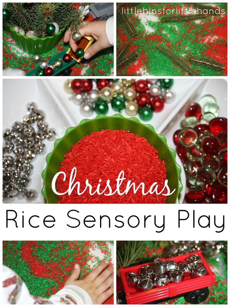 Christmas Sensory Bin Invitation to play and create with trains and ornaments!   Simple Christmas sensory bin set up I thought it would be fun for Liam to create his Christmas sensory bin and he was super excited when he saw the colored rice drying on the counter. Get your quick and simple ...