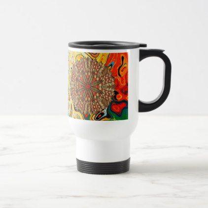 Red Gold Fall Nature Festival Travel Mug - thanksgiving day family holiday decor design idea