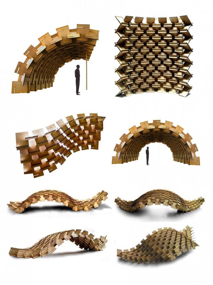"""El sistema constructivo """"muro píxel"""" esta basado en placas ensambladas, ejecutadas por diseño paramétrico y fabricación digital en una cortadora láser. El sistema se basa en la sub-división de planchas industriales, que pueden ser de madera reconstituida, fibro-cemento, plástico, cartón o metal, dependiendo de las terminaciones y durabilidad requerida. Realizando piezas que se encajan directamente en secuencias programadas, conformando superficies flexibles y auto-soportantes."""