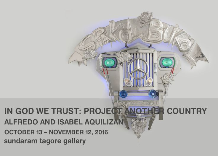 In God We Trust, 2009, stainless steel, handcrafted metal embellishments & jeep parts, 70.9 x 136.6 x 70.1 inches/180 x 347 x 178 cm  IN GOD WE TRUST: PROJECT ANOTHER COUNTRY ALFREDO AND ISABEL AQUILIZAN展 2016.10.13 -2016.11.12