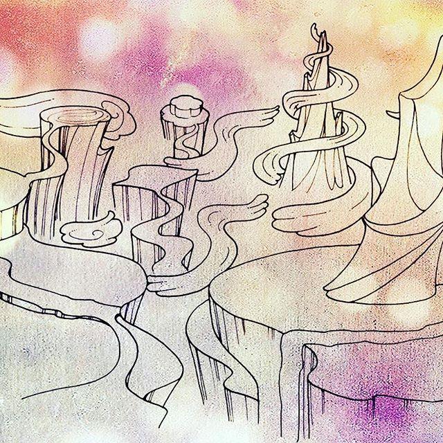 おはようございます☀ 先日からの絵のシリーズ。 ここがどんな世界だったのか、これもまた思い出せないので新たに想像してみることにします(*^▽^*) #イラスト #illustration  #イラストレーション #travel #ハイパーリブ #筆ペン #旅 #もと #もとpfukudamotoko2016/12/23 09:43:59
